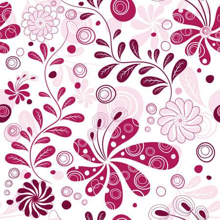 effortless: Blanco y morado sin esfuerzo wallpaper floral con flores (vector)