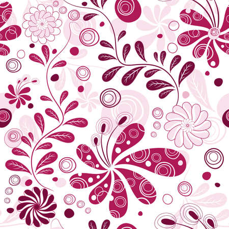 effortless: White and purple effortless floral wallpaper with flowers (vector) Illustration