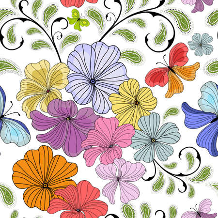 White seamless floral pattern with pastel flowers and butterflies (vector) Vector