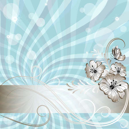 Gentle blue frame with rays and silvery flowers (vector EPS 10) Vector