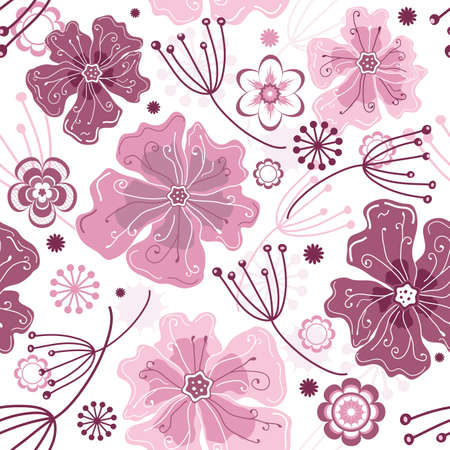 White and pink seamless floral pattern with pastel flowers