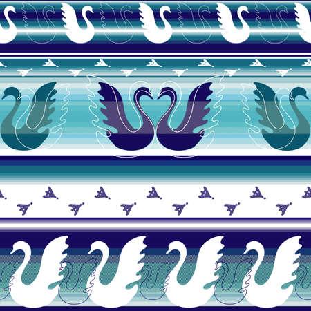 effortless: Rayas fronteras sin esfuerzo con gansos estilizadas y trazas  Vectores