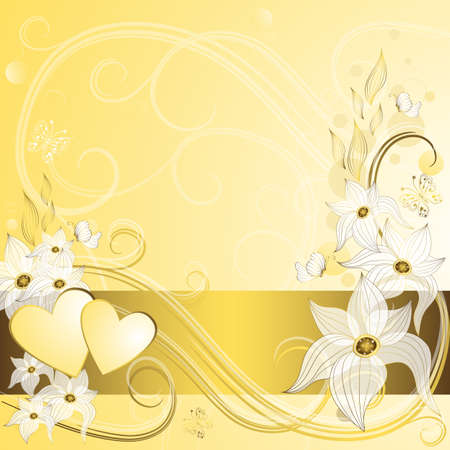 Gentle gold valentine frame with hearts and vintage flowers (vector EPS 10) Vector