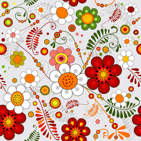 paisley pattern: Grey seamless floral pattern with vivid flowers