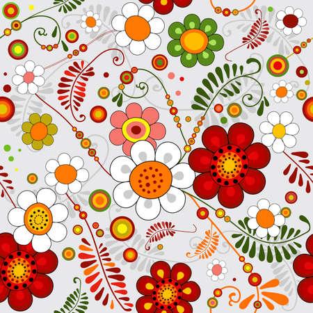 paisley pattern: Gris motif floral transparente avec des fleurs éclatantes