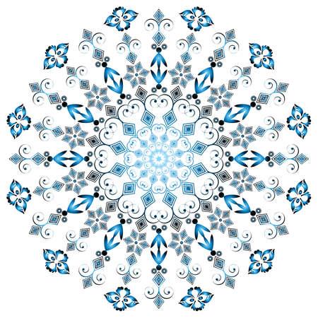 Arabesques round frame on white background  Vector