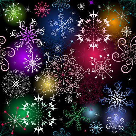 effortless: Patr�n de Navidad negra transparente con v�vidos copos de nieve Vectores
