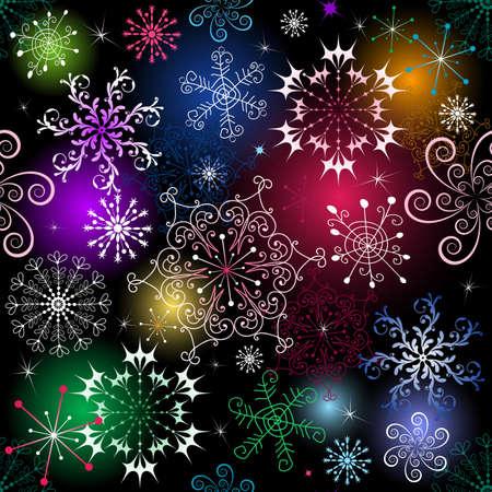lilas: Seamless black christmas pattern with vivid snowflakes