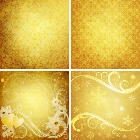 Set old yellow grunge paper for design  photo
