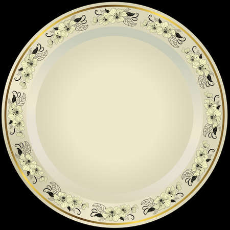 White plate with floral border and gold line Vector