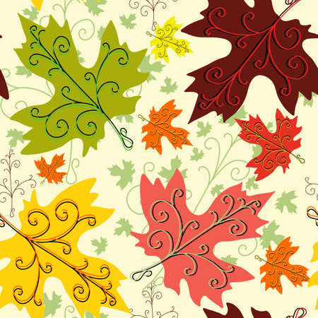 repeating pattern: Autumn seamless decorative floral pattern with maple leaves  Illustration