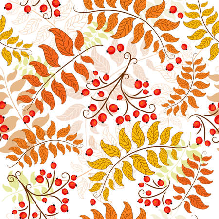 ashberry: Autumn seamless decorative floral pattern with colorful leaves (vector)