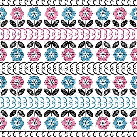 Decorative white and black pattern with blue and pink flowers. A seamless texture (vector) Illustration