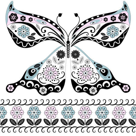 handwork: Vintage decorative butterfly isolated on white and floral seamless border (vector) Illustration