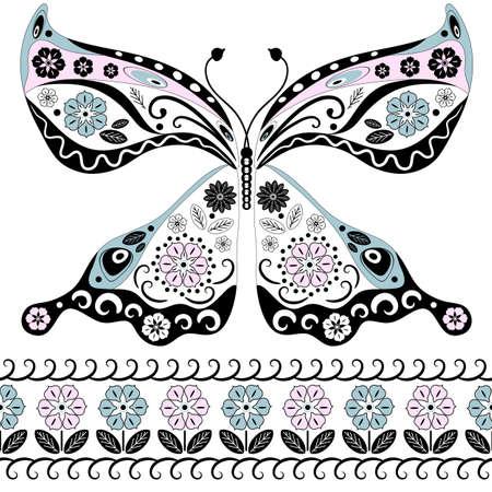 lavoro manuale: Vintage farfalla decorativa isolato su bianco e floreali di frontiera senza soluzione di continuit� (vector) Vettoriali