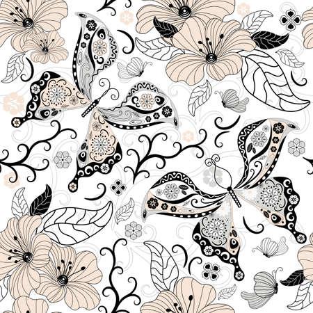 flores color pastel: Patr�n floral transparente blanco suave con pastel flores y mariposas (vector) Vectores