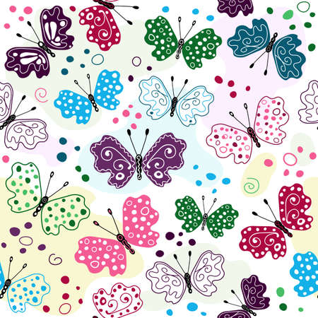 White seamless pattern with colorful butterflies and spots (vector) Vector