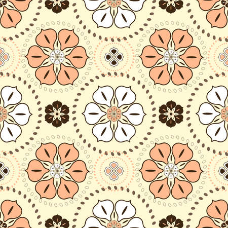 Pink seamless pattern with floral ornament (vector) Vector
