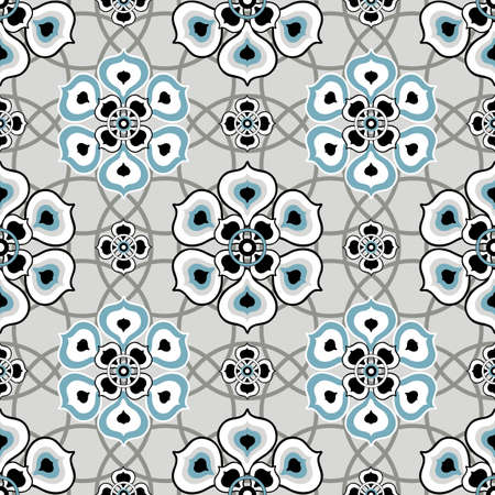 geometric: Gray seamless pattern with floral ornament