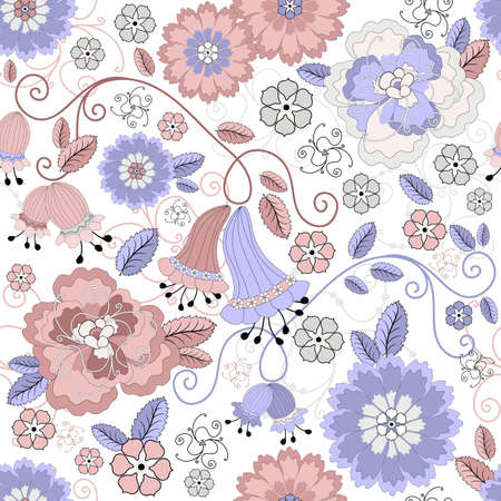 gray pattern: Gentle white seamless pastel floral pattern with pink and blue flowers  Illustration