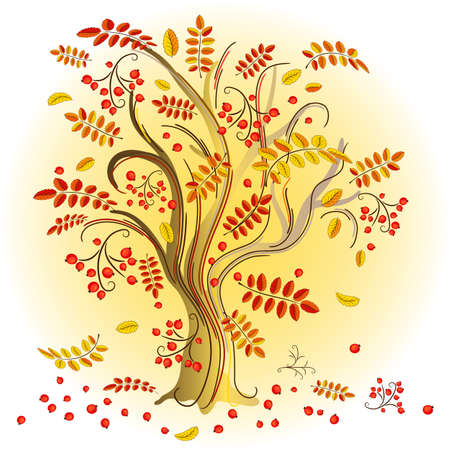 Abstract autumn tree with colorful leaves and red  berries  Vector