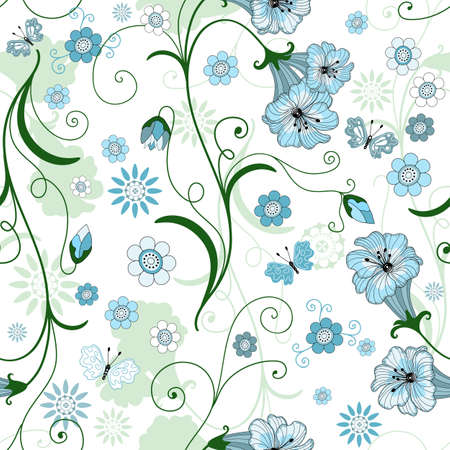 soft textile: White seamless floral pattern with blue flowers and butterflies  Illustration