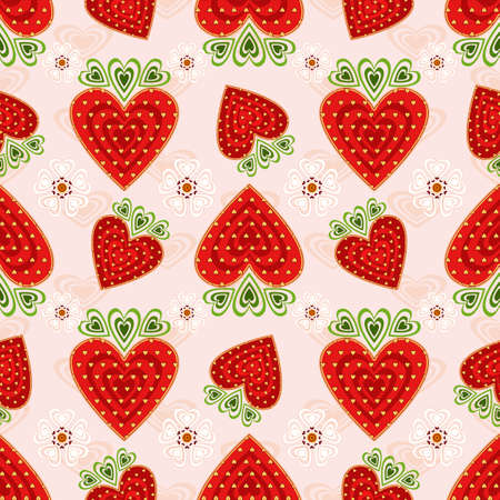wild strawberry: Pink seamless valentine pattern with decorative strawberry and flowers