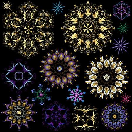 Collection colorful snowflakes on black Vector