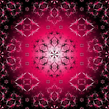 Pink, purple and black seamless pattern with vintage ornament  Vector