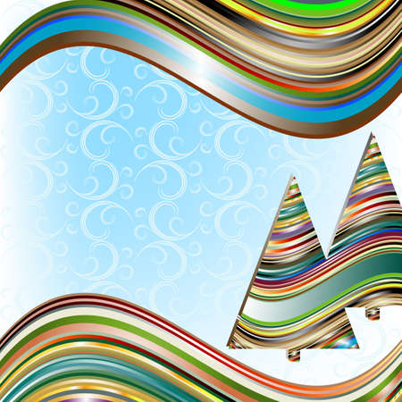 Vivid christmas frame with colorful striped wave and christmas tree and curls  Vector