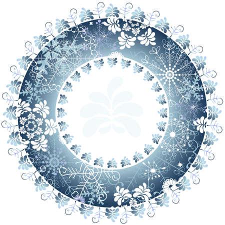 Christmas blue round frame on white background Vector