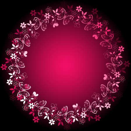 papillon rose: Blanc-violet cadre de vives floraux sur fond rose et noir Illustration