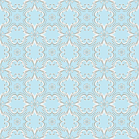 Elegance blue seamless pattern with vintage ornament (vector)