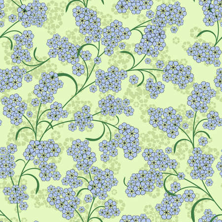 handwork: Repeating gentle green floral pattern with blue flowers
