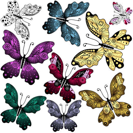 handwork: Collection abstract colorful butterflies on white