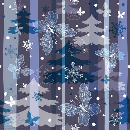 Winter repeating pattern with snowflakes, trees and butterflies (vector EPS 10) Vector