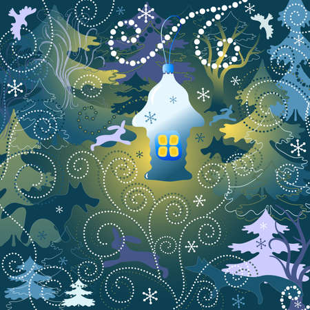 magical fairy: Christmas background with a toy house, forest and wild animals and birds (vector)