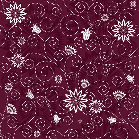 effortless: Purple effortless floral pattern with white flowers (vector)