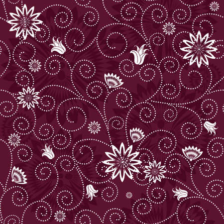 effortless: Purple patr�n esfuerzo floral con flores de color blanco (vector)