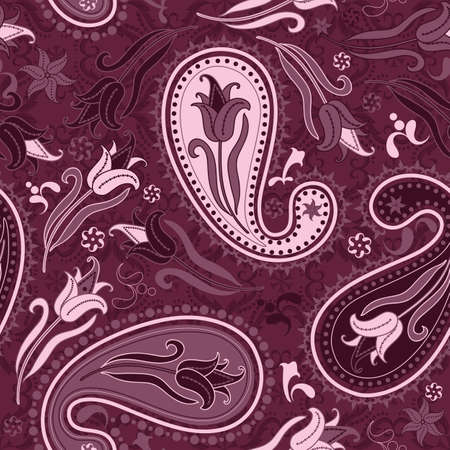Dark pink  seamless floral pattern with paisley and tulips (vector) Vector