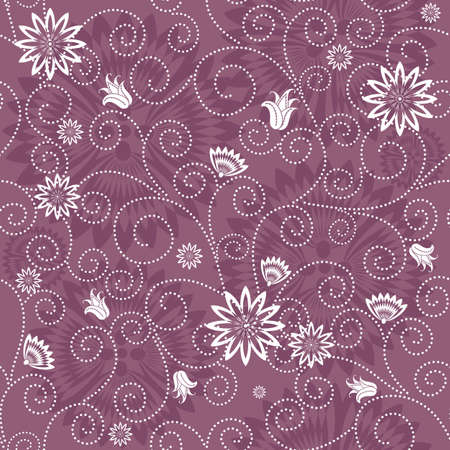 Gentle violet seamless floral pattern with white flowers (vector) Vector