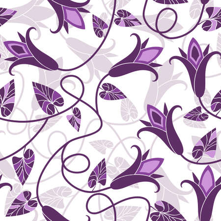 white tulip: White repeating floral pattern with violet flowers (vector)