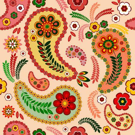paisley: Delikatny różowy szwu z Paisley i kwiatów (wektor)
