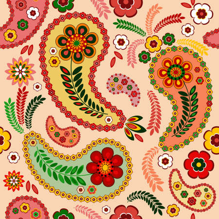 paisley background: Gentle pink seamless pattern with paisley and flowers (vector)