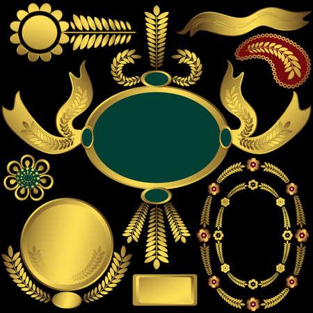 medal ribbon: Collection golden elements and frames for design on black background (vector)