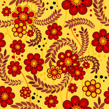 Vivid yellow seamless floral pattern with spots and wavy lines Vector