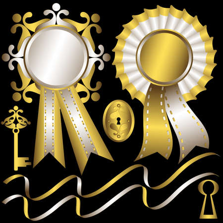 gold keyhole: Collection gold and silver elements and  awards  for design on black background (vector) Illustration