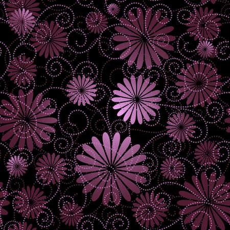 effortless: Negro y violeta seamless floral con flores y bucles (vector)