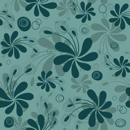Repeating turquoise floral pattern with dark flowers vector) Vector