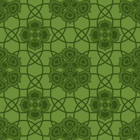 Green seamless pattern with dark geometric ornament (vector) Vector